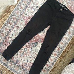 American Eagle Black Faded Distressed Jeggings